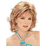 GGO Perruque en Fibre Chimique Lady Blanche Oblique Frange Courte Perruque de Cheveux bouclés