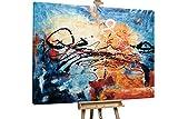 KunstLoft® XXL Gemälde 'Vier Jahreszeiten' 200x150cm | original handgemalte Bilder | Deko Abstrakt in Blau & Orange | Leinwand-Bild Ölgemälde einteilig groß | Modernes Kunst Ölbild