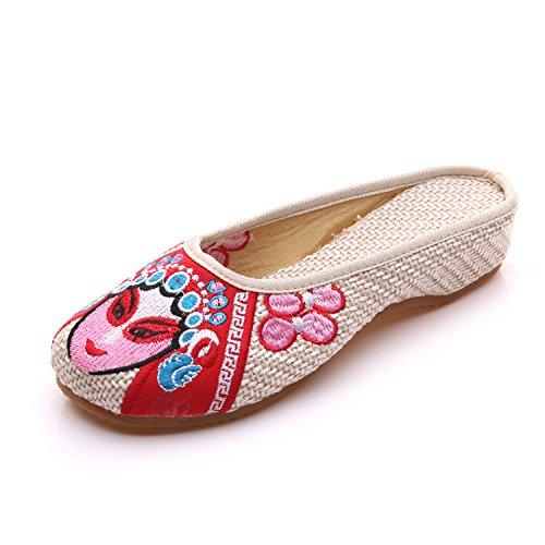 GXS Gestickte Schuhe, Sehnensohle, ethnischer Stil, weiblicher Flip Flop, Mode, bequem, Sandalen meters white