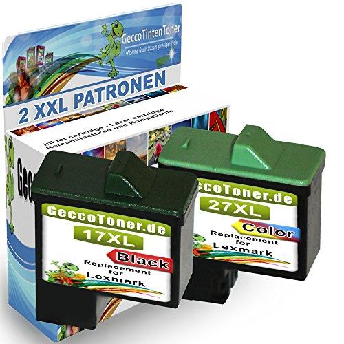 2X Druckerpatronen Als Ersatz für Lexmark 17xl + 27xl für Lexmark X2230 X2250 X1180 X1185 X1190 X1250 X1270 X1290 X1196 Z614 Z615 Z617 Z640 Z645 Z717 -