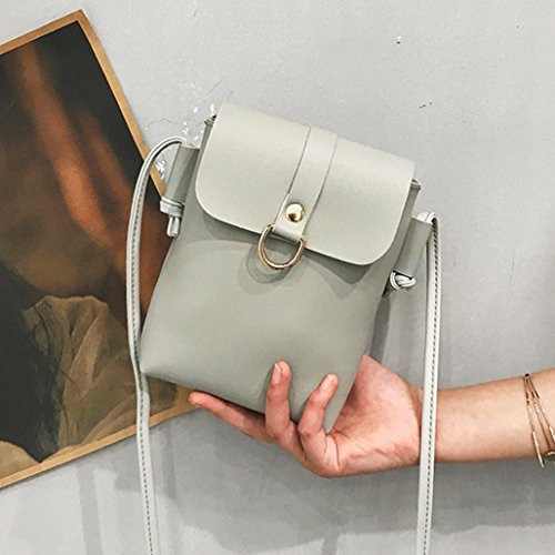 Longra Sacchetto del telefono mobile del sacchetto singolo di colore solido delle donne Grigio