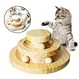 Chuanglan Katzen-Spieltablett mit 2 Ebenen, für Intelligenz, Spielzeug, Katzenspielzeug, Holzturm