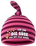 Baby Zipfel Mütze gestreift (Farbe brombeer-pink) (Gr. 2 (74-98) Ich bin die Suesse von der alle reden