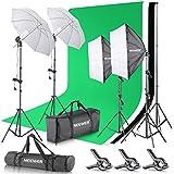 Neewer 2.6Mx 3M / 8.5ft x 10ft Support System de Fond et Kit d'Eclairage Continu 800W 5500K Parapluies Softbox pour Photo Studio Produit, Portrait et Vidéo Tournage Photographie