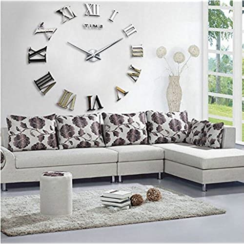 Fancy Decor(TM)Silver Time Letters Roman Numbers Luxury DIY Frameless  Quartz 3D Large Big Mirror Effect Wall Clock Oversized Clock Watches Living  Room Décor ...