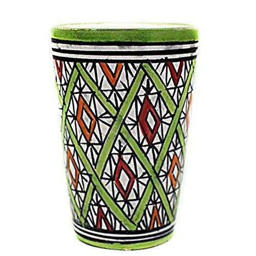 Becher im Orientalischen Stil - Material: Keramik - D8cm / H11cm - Grün - Handbemalt - Hochwertige Verarbeitung