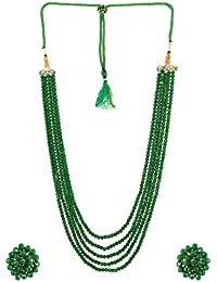 A2 Fashions Green Crystal Beaded Multi Layered Fashion Necklace Set For Women And Girls