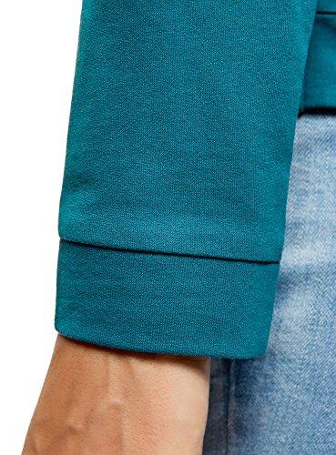 oodji Ultra Damen Bedrucktes Baumwoll-Sweatshirt Türkis (7319P)