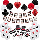 easy joy decoration anniversaire magie enfant kit happy birthday pompon papier rouge noir ballon
