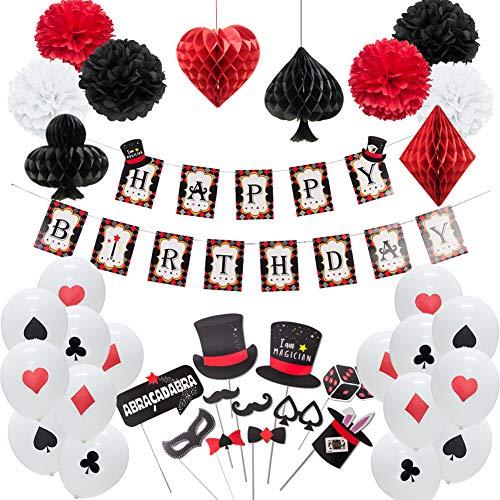 Easy Joy Casino Mottopary Geburtstag Dekorationen Magic Party Spielkarte Deko