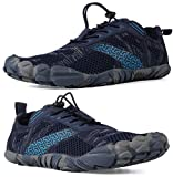 WHITIN Zapatilla Minimalista de Barefoot Trail Running para Hombre Mujer Five Fingers Fivefingers Zapato Descalzo Correr Deportivas Fitness Gimnasio Calzado Asfalto Azul 44