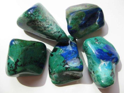 1 Stck Trommelstein Azurit-Malachit stabilisiert 3-3,5 cm
