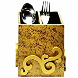 Wooden Cube 2-Section Gold Texture Cutle...