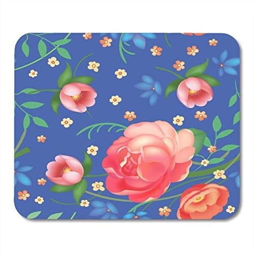 Luancrop Mauspads Bunte abstrakte schäbige schicke Vintage Rosen-Tulpen und vergessen Mich Nots Klassische Chintz-Blumenakzent-Mausunterlage für Notizbücher, Tischrechner-Mausunterlagen, Bürozubehöre Vintage Rose Chintz