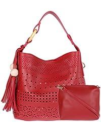 Fur Jaden Maroon Ladies Bucket Tote Handbag For Woman