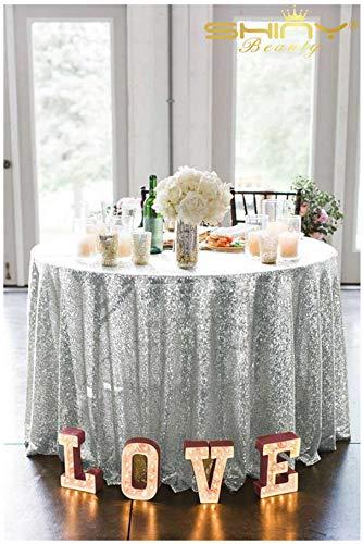ShinyBeauty Silber Sequin Tischdecken für Hochzeit / Party-Every Size For Your Better Reference-225cm Square (Square Marine Blau Tischdecke)