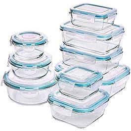 Set di contenitori per alimenti in vetro – 18 pezzi (9 contenitori + 9 coperchi) Coperchi trasparenti – Senza BPA – per…