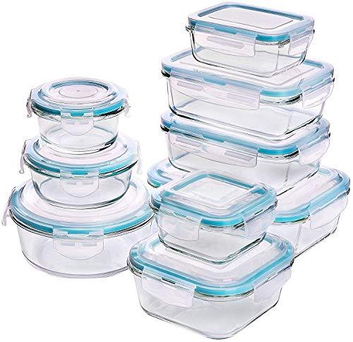 n - Glasbehälter - 18 Stück (9 Behälter + 9 Deckel) - Transparente Deckel - BPA frei - für Home Küche oder Restaurant - von Utopia Kitchen ()