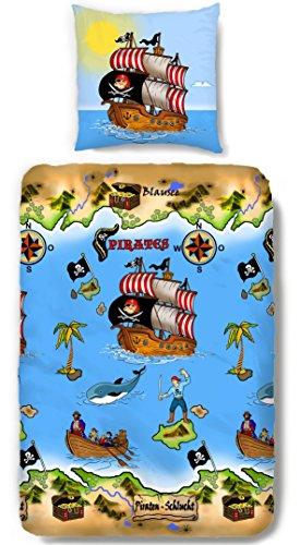 Aminata Kids - Jungen-Kinder-Bettwäsche 135x200 cm Pirat Seeräuber Piratenschiff Schatzinsel blau hochwertige Baumwolle Schatz Insel