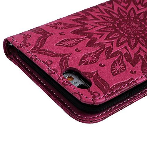 iPhone 6 Hülle, Pincenti PU Leder Flip Wallet Cover in Book Style Stand Case Card Slot Leder Tasche Case Karteneinschub und Magnetverschluß Kratzfestes und Schmutzunempfindliches in Blau Sonnenblume f Rose Red