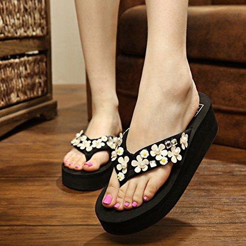 TONGS SANDALES Pantalons de mode été de 5.5cm Sandales / pantoufles de chaussures Chaussons inférieurs épais antidérapants (noir / marron / bleu foncé / bleu clair / rose / blanc) élégant Noir