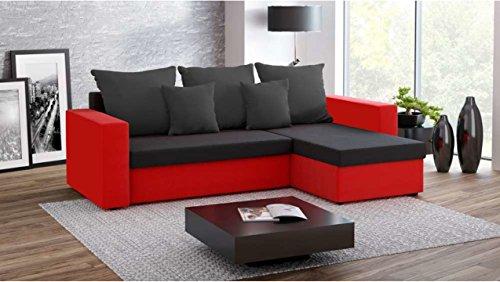 Justhome fresh ii divano angolare divano letto microfibra (lxlxa): 142x237x75 cm nero rosso iv penisola a destra