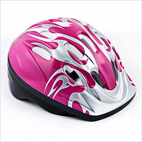 Relaxdays Kinderhelm f&uumlr Radfahrer Kinderfahrradhelm Fire Design Farbe Pink