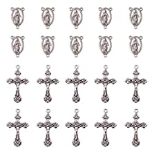 PandaHall Elite 50 sets Tibetan Style Oval with Virgin Holy Rosary Center Pieces Chandelier Links and Crucifix Cross Pendants, Antique Silver Color