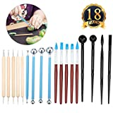 ARTISTORE 18PCS Ball Stylus Dotting Tools Clay Pottery Modeling Set Rock Painting Kit WITH 5 Clay Color Shaping Modeling Wipe Out Tools Rubber Tip Paint Brushes for Sculpture Pottery