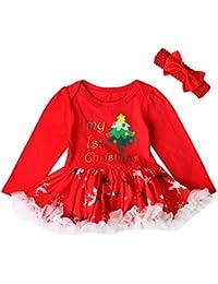 Hawkimin 2PC Baby Weihnachten Mädchen Strampler Kleider Spitze Tutu Rock + Hair Strap