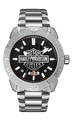 Harley Davidson Men's Quartz Watch with Grey Dial Analogue Display and Silver Stainless Steel Bracelet 76B169