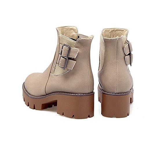 AgooLar Damen Reißverschluss Niedriger Absatz Quadratisch Zehe Stiefel, Cremefarben, 43