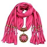 YEBIRAL Schal Damen Schal Anhänger Quaste Frauen Mode Accessoires Deckenschal Halstuch Schals(Fuchsia)