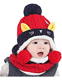 49fe0476ce1 WSLCN Unisex Baby Kids Hats Handmade Knitted Scarf Caps Toddler Knitted  Hoodie Winter Head Scarf Neck Warmer Cute Cat Hooded Scarf Hats Soft…