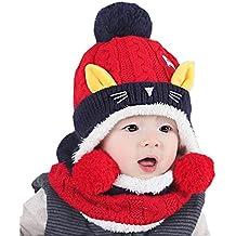 c9ce34316a0 Elonglin Unisexe Bébé Enfant Coiffe d hiver Chaud Chapeaux Tricoté+écharpe  2 Pièces Ensemble