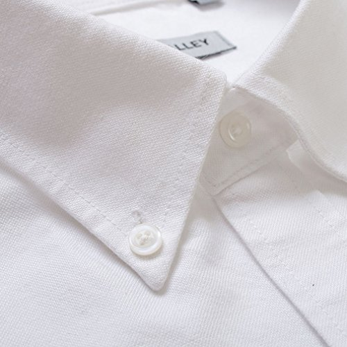 Honghu Casual Herren Langarm Slim Fit Business Button Down Hemd Weiße