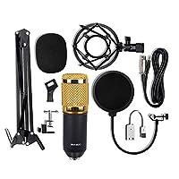Festnight BM-800 Condenser Microphone USB Sound Card Mount Stand Set for Radio Braodcasting Singing Recording (Black & Gold)