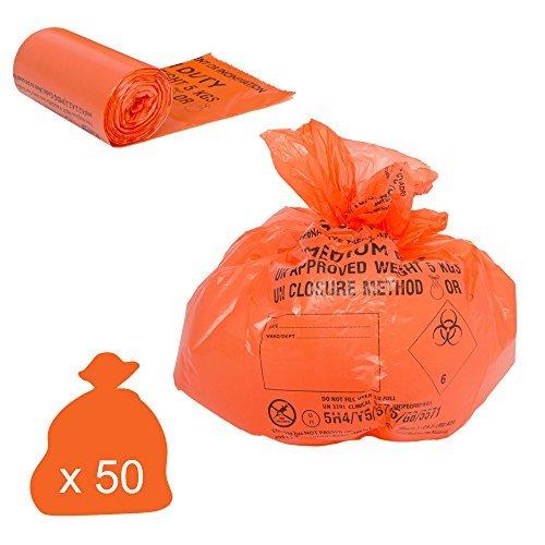 Klinische Abfälle Taschen-Medium Duty, 20 Litre/5 kg, Orange, 50