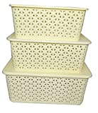 #10: LAZYKARTS® Basket For Storage Set of 3 With Lid Ivory Color Sizes (Small, Medium & Big) - Ivory