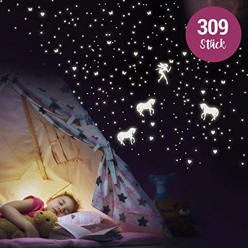 """Wandkings \""""Einhörner mit Herzen, Sternen, Schmetterlingen\"""" Wandsticker / 309 Sticker / Fluoreszierend & im Dunkeln leuchtend"""