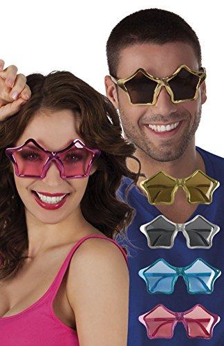 erdbeerloft - Oversize Star Sternen Sonnenbrille, Silber