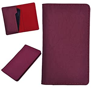 DCR Pu Leather case cover for Micromax Canvas Viva A72 (red)