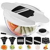 Mandoline 6 en 1 Multifonction Professionnelle Couper les Legumes Couteau en Acier Inoxydable Rapide et Facile à Nettoyer Au Lave-vaisselle Sans BPA