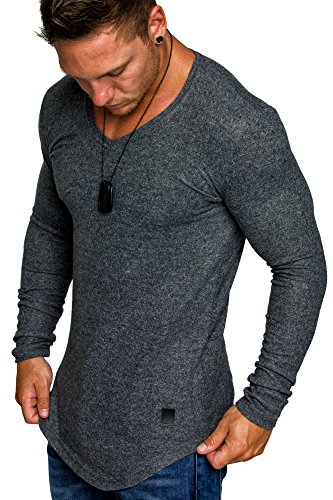 Amaci&Sons Herren Oversize Basic Pullover Melange Sweatshirt V-Neck Fein-Strick Hoodie 6054 Anthrazit Melange XXL