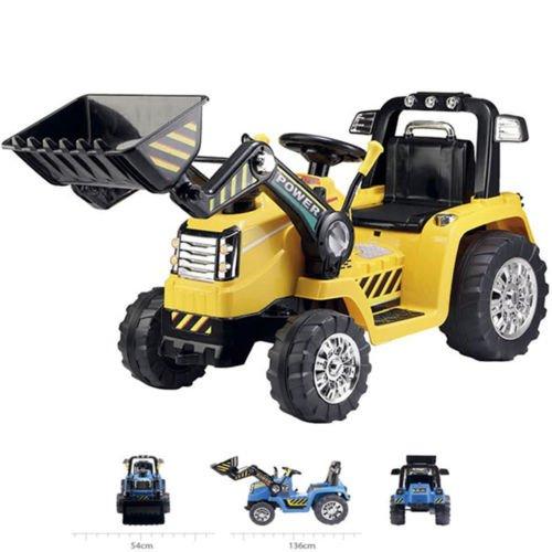 *BAGGER BULLDOZER Kinder Elektro Auto Fahrzeug Traktor Kinderfahrzeug Elektrobagger Gelb*