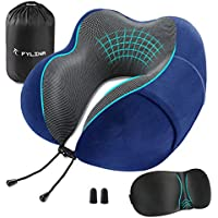 FYLINA Travel Pillow, Memory Foam Neck Pillow with Carry Case, Eye Mask and Ear Plugs, Comfortable Portable Neck Head Support Cushion for Airplane Train Car Travelling Reading Sleeping (Navy)