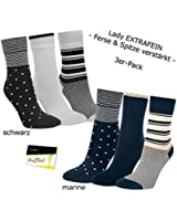 "3er Pack Damen Socken Strümpfe ""Punkte & Ringe"" ohne Gummi (RS-11957) - inkl. EveryHead-Hutfibel"