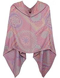 Eleganter Poncho / Cape für Damen weich, leicht, chic in Paisley Blumen Muster - Poncho Damen - WJ062