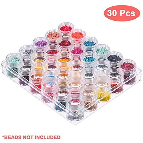 Perlen Organizer aus Kunststoff - Entfernbaren Unterteilungen im Topf Stil, Aufbewahrung Box mit Deckel für Perlen, Nail Art Glitzer, Make-up, Schmuck, Perlen und Pillen (1 Pack) (30 Pfund Reis)
