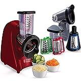 Russell Hobbs Slice & Go - Picadora (200 W, Accesorios Rallador y Cortador de verduras, Inox, Rojo)...